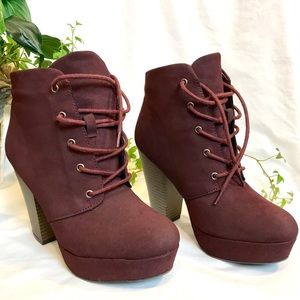 SM BOOTIES wine High Hills ankle boots suede